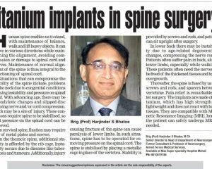 Titanium implants in spine surgery