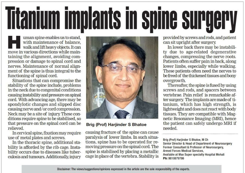 Titanium implants in spine surgery